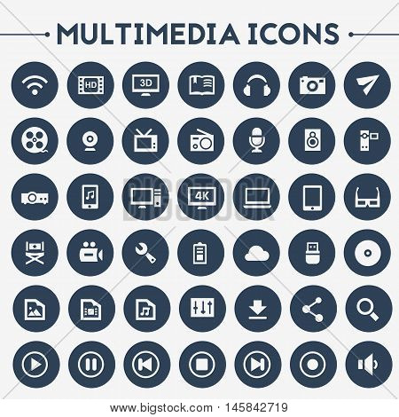 Trendy flat design big Multimedia icons set on round buttons