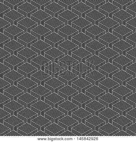 Seamless pattern with 3-D effect cubes in perspective. Retro vintage abstract black and white background. Graphic vector illustration clip-art web design elements save in 8 eps