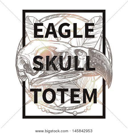 Fashionable Sketch Hipster Design With Eagle Skull