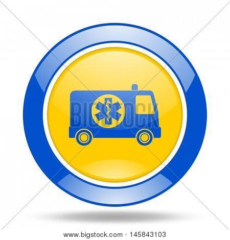 ambulance round glossy blue and yellow web icon