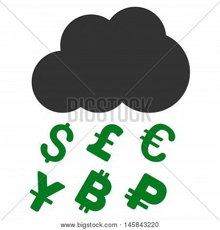 Money Rain icon. Vector style is bicolor flat iconic symbol, green and gray colors, white background.