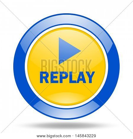 replay round glossy blue and yellow web icon