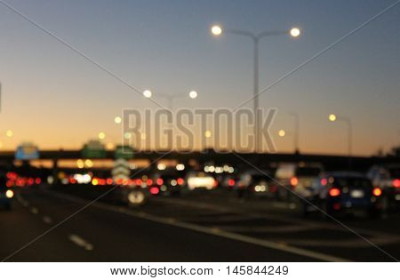 Abstract Blurred Focus Traffic at Dusk 3
