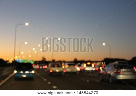 Abstract Blurred Soft Focus Traffic at Dusk 2