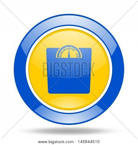 weight round glossy blue and yellow web icon