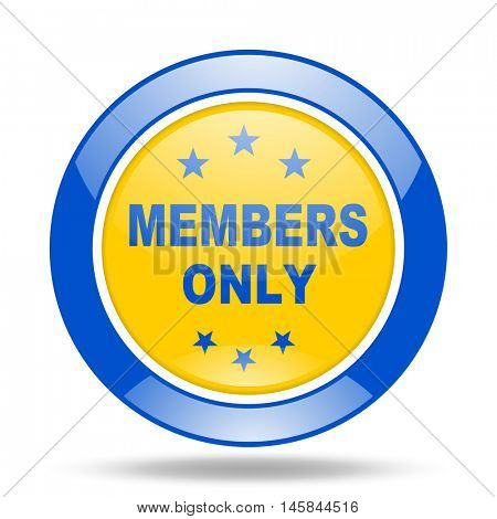 members only round glossy blue and yellow web icon