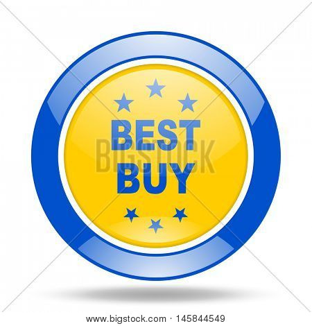 best buy round glossy blue and yellow web icon
