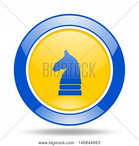 chess horse round glossy blue and yellow web icon