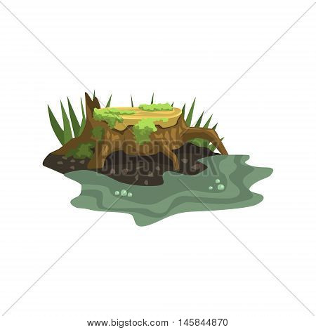 Old Stump Submerged In Water Jungle Landscape Element. Simple Tropical Forest Object Illustration Isolated On White Background.