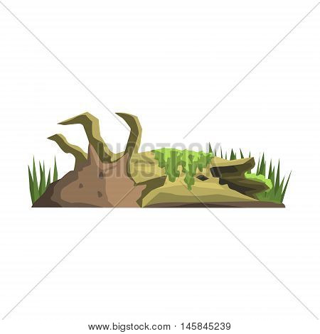 Decaying Tree Trunk In Swamp Jungle Landscape Element. Simple Tropical Forest Object Illustration Isolated On White Background.