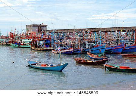 Traditional thai sea boats on Ban Phe pier, Trat, Thailand.
