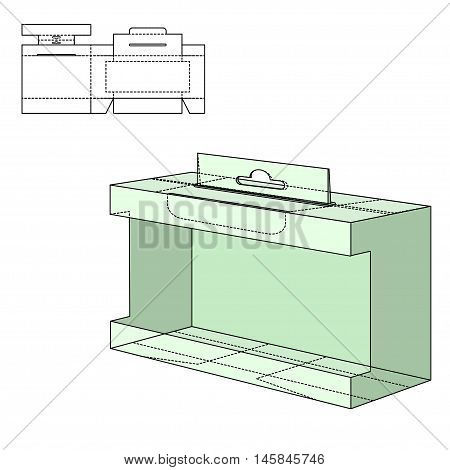 Vector Illustration of Gift craft Box for Design, Website, Background, Banner. Folding package Template. Fold pack with die line for your brand on it