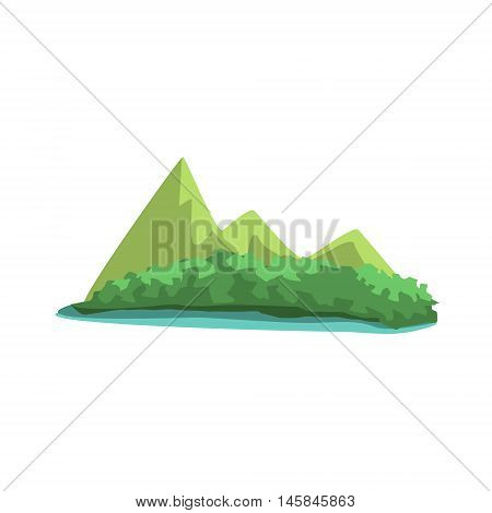 Tropical Island With Mountains View Jungle Landscape Element. Simple Tropical Forest Object Illustration Isolated On White Background.