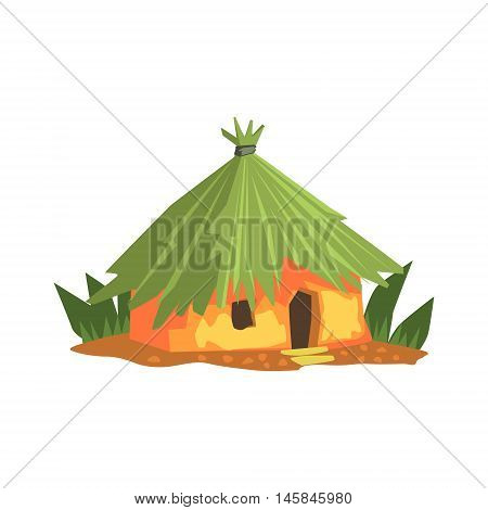 Primitive Tropical Building Jungle Landscape Element. Simple Tropical Forest Object Illustration Isolated On White Background.