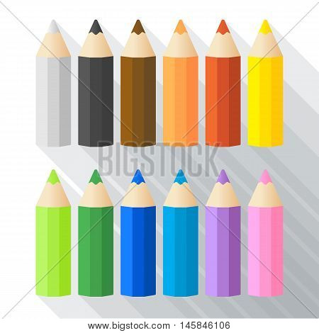 Varicolored color pencils set with long shadow