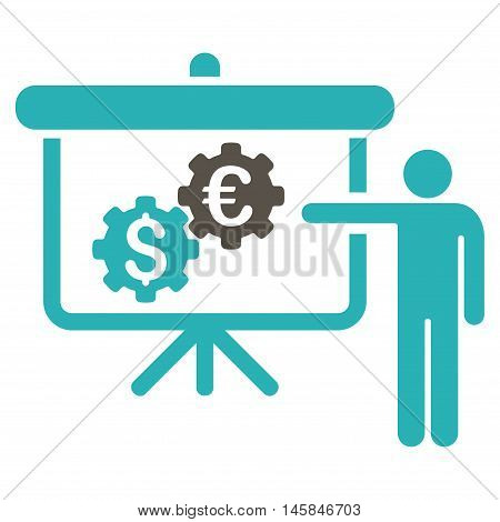 International Industry Presentation icon. Vector style is bicolor flat iconic symbol, grey and cyan colors, white background.