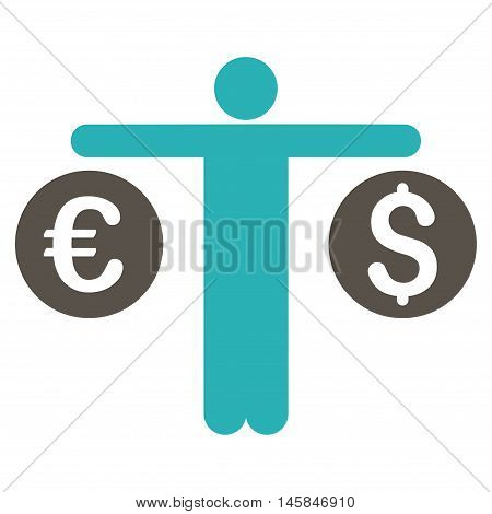 Person Compares Currency icon. Vector style is bicolor flat iconic symbol, grey and cyan colors, white background.