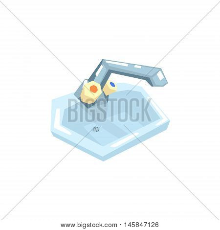 Bathroom Tap And Sink Cool Colorful Vector Illustration In Stylized Geometric Cartoon Design Isolated On White Background