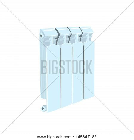 Central Heating Radiator Cool Colorful Vector Illustration In Stylized Geometric Cartoon Design Isolated On White Background