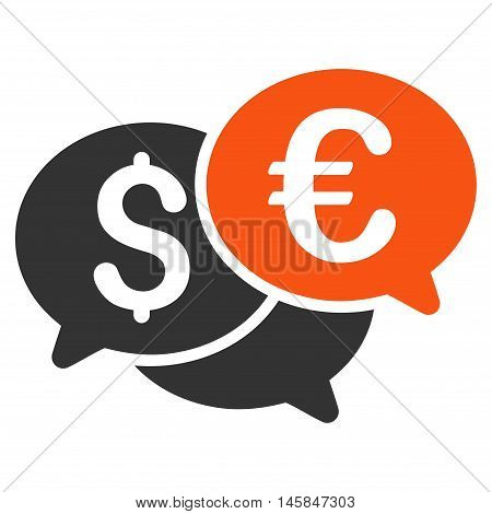 Currency Bids icon. Vector style is bicolor flat iconic symbol, orange and gray colors, white background.