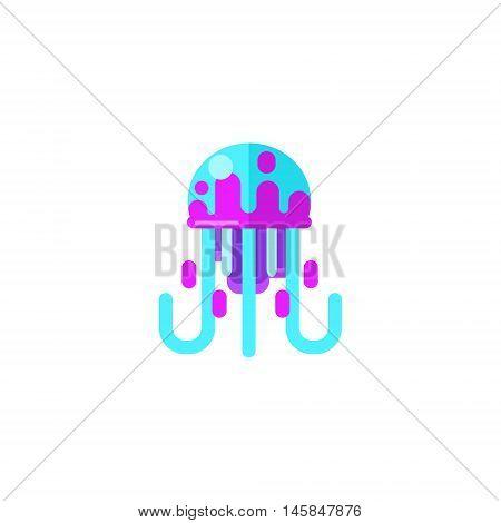 Jellyfish Primitive Style Childish Sticker. Marine Animal Minimalistic Vector Illustration Isolated On White Background.