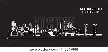 Cityscape Building Line art Vector Illustration design - Sacramento city