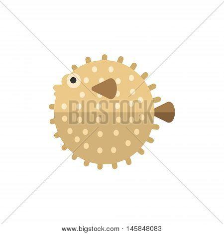 Purcupine Fish Primitive Style Childish Sticker. Marine Animal Minimalistic Vector Illustration Isolated On White Background.