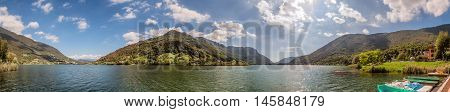 Lake Endine in northern Italy panoramic view