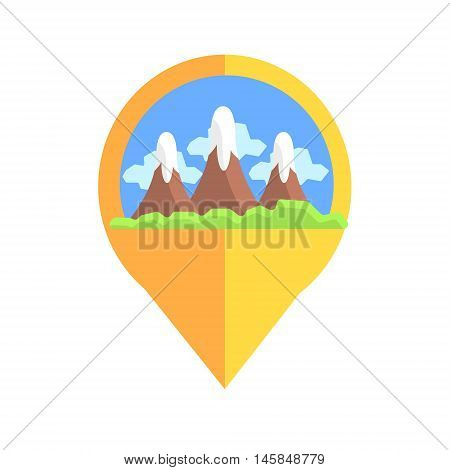 On-line Map Marker With Mountains. Smartphone App Classic Destination Tag In Geometric Design Isolated On White Background