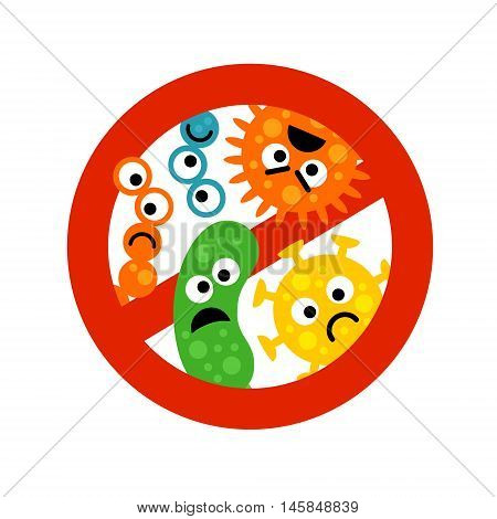 Stop bacterium sign with cute cartoon gems in flat style isolated on white background. Alert circle symbol for antibacterial products. Art vector illustration.