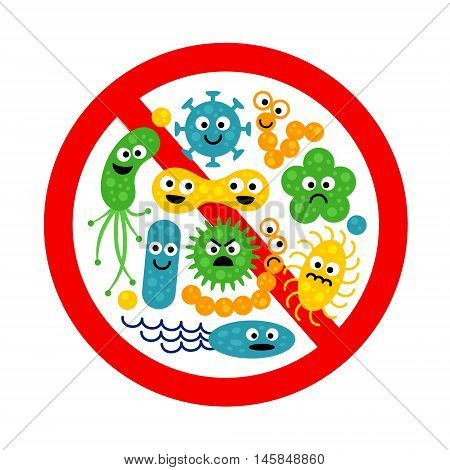 Stop bacterium sign with many cute cartoon gems in flat style isolated on white background. Alert circle symbol for antibacterial products. Art vector illustration.