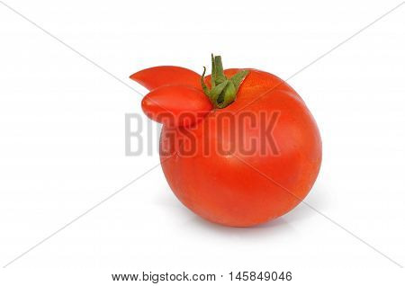 weird red  tomatoe isolated on white background