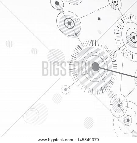 3d vector abstract background created in Bauhaus retro style. Grayscale modern geometric composition can be used as templates and layouts.