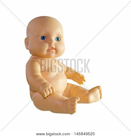 Baby doll plastic toy. On a white isolated background
