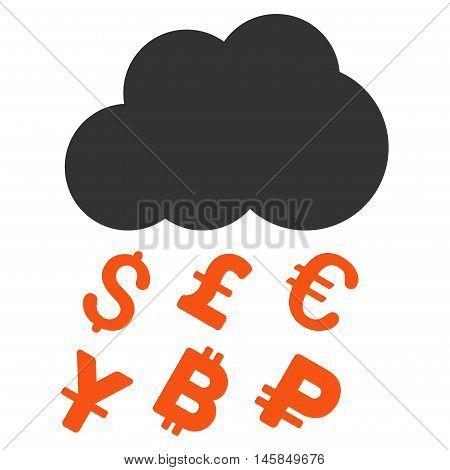 Money Rain icon. Vector style is bicolor flat iconic symbol, orange and gray colors, white background.