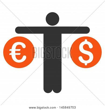 Person Compares Currency icon. Vector style is bicolor flat iconic symbol, orange and gray colors, white background.