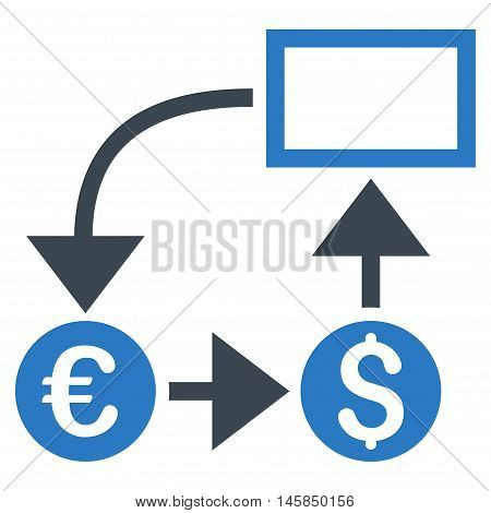 Cashflow icon. Vector style is bicolor flat iconic symbol, smooth blue colors, white background.