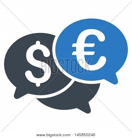 Currency Bids icon. Vector style is bicolor flat iconic symbol, smooth blue colors, white background.