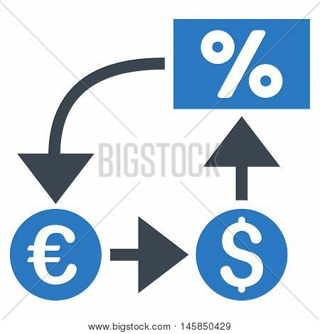 Currency Cashflow icon. Vector style is bicolor flat iconic symbol, smooth blue colors, white background.