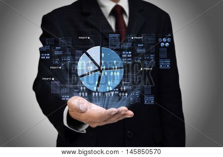 Business profit sharing concept with businessman showing a pie charts