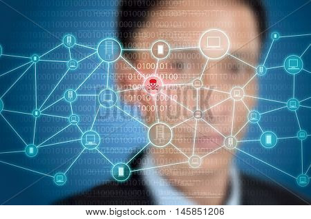 A concept of computer network with security or privacy problem. Network get hacked or get infected by virus or malicious software activity