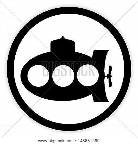Submarine icon on white background. Vector illustration.