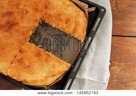 Butter Pot Pie With Potatoes Close Up