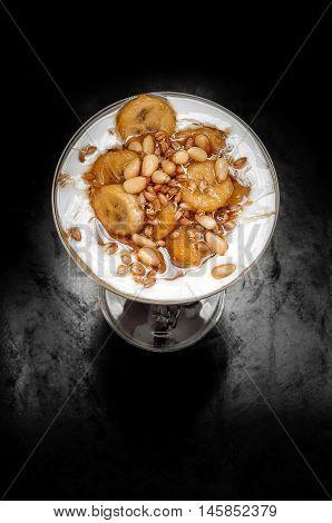 Caramelized Bananas With Yogurt, Germ, Honey