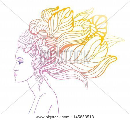 Beautiful girl with flowers in her hair in a graphic arts style. Vector illustration on white background.