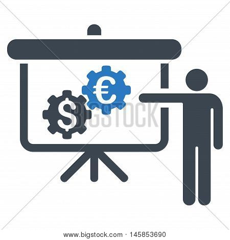 International Industry Presentation icon. Vector style is bicolor flat iconic symbol, smooth blue colors, white background.