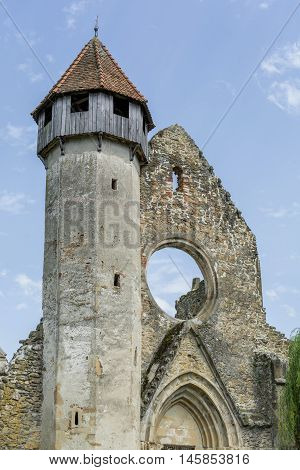 Ruins of medieval cistercian abbey in Transylvania, founded in 1202. Front view.