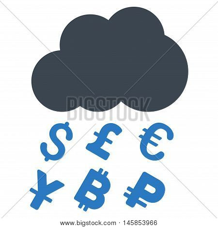 Money Rain icon. Vector style is bicolor flat iconic symbol, smooth blue colors, white background.