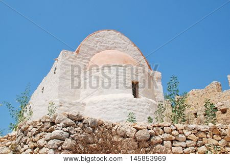 The restored chapel within the medieval Crusader Knights castle above Chorio on the Greek island of Halki.