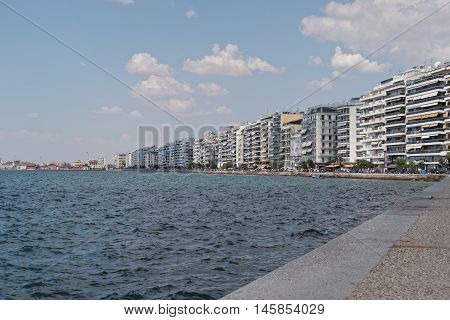 Thessaloniki, Greece - September 04 2016: The waterfront of Thessaloniki. View from the landmark of the city, the White Tower, up to the city port.